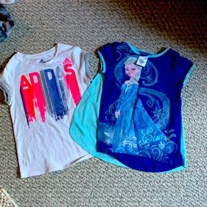Adidas top and Disney top for girls